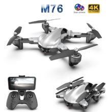 M76 Foldable Profissional RC Drone with 4K 1080P HD Camera WiFi FPV Optical Flow RC Quadrocopter Kids Toys VS SG106 E58 Xs816