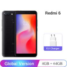 Global Version Xiaomi Redmi 6 4GB RAM 64GB ROM Mobile Phone Helio P22 Octa Core 12MP+5MP Dual Camera 5.45